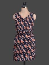 Floral Printed V-neck Sleeveless Dress - Label VR