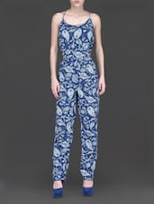Paisley Printed Blue Cami Neck Jumpsuit - Label VR