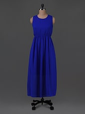 Royal Blue Georgette Maxi Dress - G&M Collections