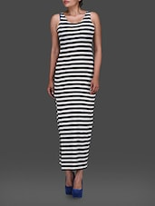 Striped Monochrome Poly Knit Dress - G&M Collections