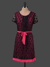 Black Lace Round Neck Magenta Belted Dress - Peptrends