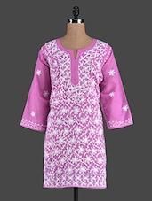 Pink Embroidered Cotton Chikan Kurti - Kiala
