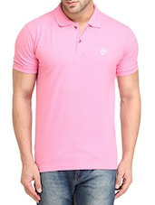 solid pink cotton polo t-shirt -  online shopping for T-Shirts