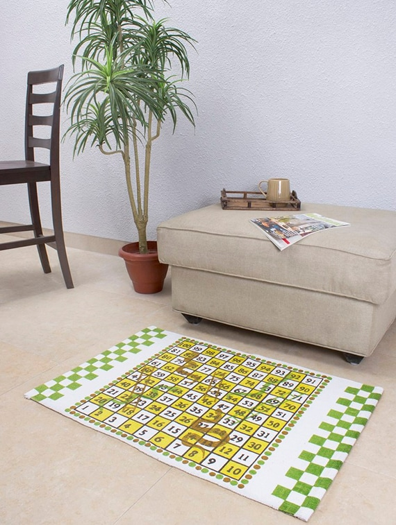House This Snakes Ladders 100 Cotton Floor Rug Green By Online Ping For Carpets In India 11504660