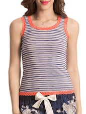 Multicolour Printed Lace Trimmed Cotton Tank Top - By - 1151792