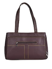 Maroon Double Pocket Leatherette Handbag - Coash