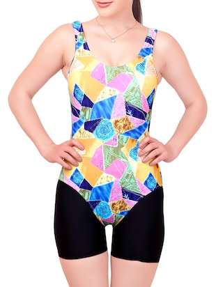 multicoloured printed nylon swimsuit -  online shopping for functional swimsuit