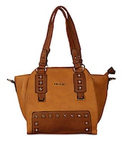 Cut Work Stone Embellished Solid Color Bag - By