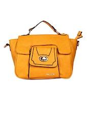 Square Shape Solid Yellow Color Hand Bag - KIARA