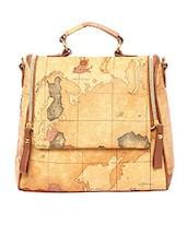 Brown Leatherette Shoulder Bag - By