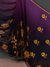 Yellow Floral Embroidered Pallu Purple Saree - Shrimatiji Sarees