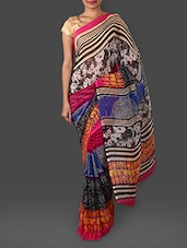 Floral & Stripes Printed Georgette Saree - Looklady