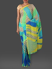 Chequered Colour Block Georgette Saree - Looklady