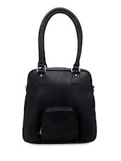 Solid Black Leatherette Handbag - Borsavela