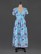 Blue Polyester Floral Printed Zip Dress - SS