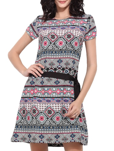 black printed belted dress - 11532390 - Standard Image - 1