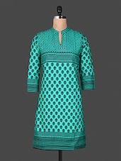 Block Print Mandarin Color Quarter Sleeve Green Kurta - ANJANI