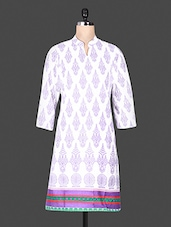 Quarter Sleeve Block Printed Purple Cotton Kurta - ANJANI KURTIS