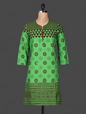 Quarter Sleeve Funnel Neck Geometric Sleeve Green Cotton Kurti - ANJANI KURTIS