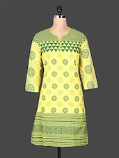 Quarter Sleeve Funnel Neck Geometric Sleeve Yellow Cotton Kurti - ANJANI KURTIS