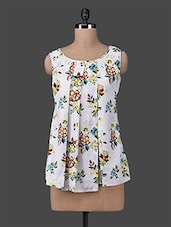 Floral Printed Pleated Sleeveless Top - M Expose
