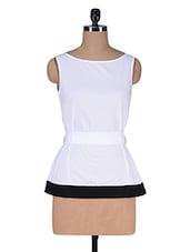 White Cotton Top With Fabric Belt - Kaaryah