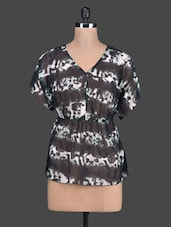V Neck Printed Sheer Georgette Top - Tops And Tunics