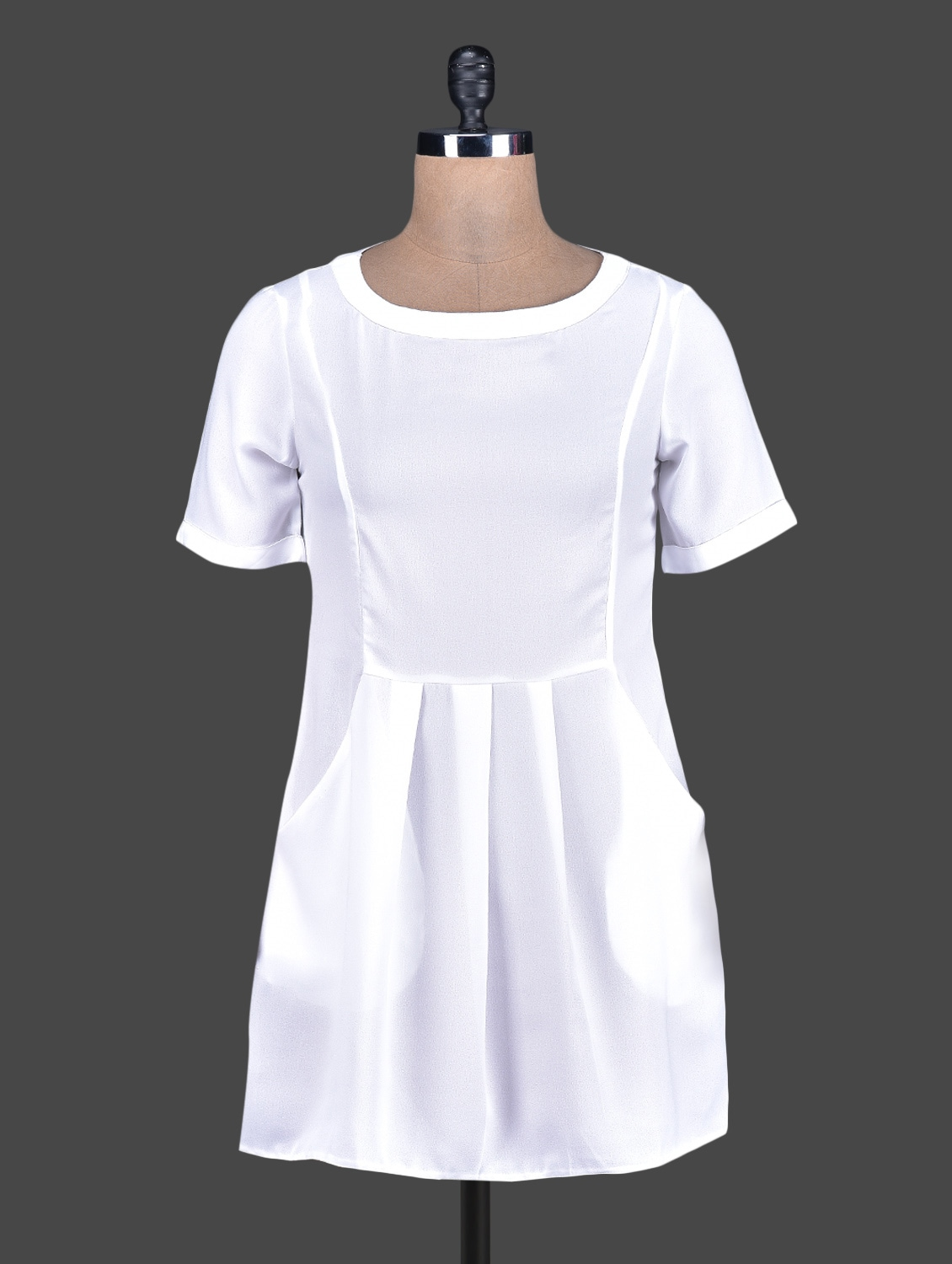 Round Neck Solid White Crepe Dress - Tops And Tunics