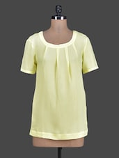 Short Sleeves Pleated Round Neck Crepe Top - Tops And Tunics