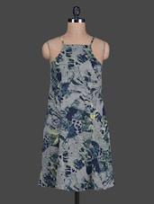Flared Printed Crepe Dress - Tops And Tunics