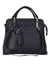 Dark Blue Quilted Faux Leather Handbag - ADISA