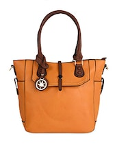 Structured Orange Faux Leather Handbag - By