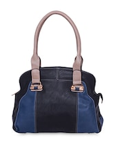 Black Color Blocked Faux Leather Handbag - A-Progeny