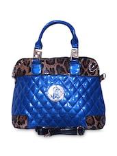 Blue Textured Faux Leather Handbag Cum Sling - A-Progeny