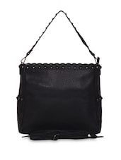 Black Studded Faux Leather Tote Cum Sling - A-Progeny