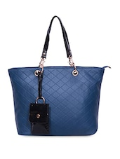 Textured Blue Faux Leather Tote - A-Progeny