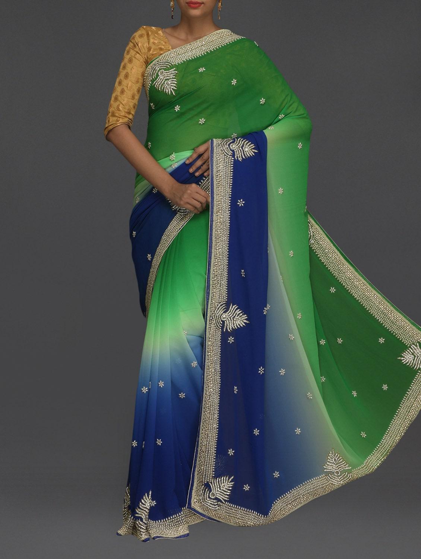 Embellished Blue & Green Ombre Saree - SareesHut