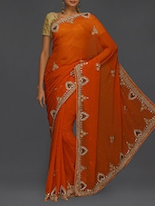 Embellished Border Orange Chiffon Saree - SareesHut