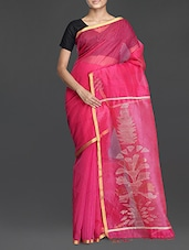 Pink Handwoven Resham Saree With Gheecha Work - Cotton Koleksi