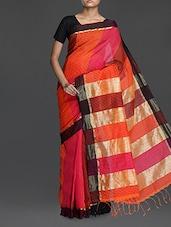 Orange And Pink Striped Handwoven Noel Saree - Cotton Koleksi