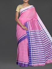 Pink Handwoven Resham Saree With Striped Pallu - Cotton Koleksi