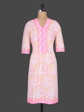 Pink Printed Paisley Cotton Kurta - Cotton Curio