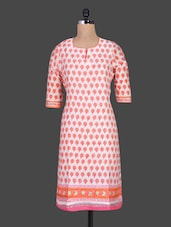 Red Printed Chanderi Kurta - Cotton Curio
