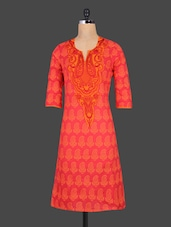 Red Embroidered Printed Paisley Cotton Kurta - Cotton Curio