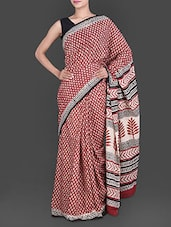 Leaf Printed Pallu Red Cotton Saree - Anjani Sarees