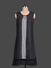 Black Chevron Printed Layered Kurta - Bitterlime