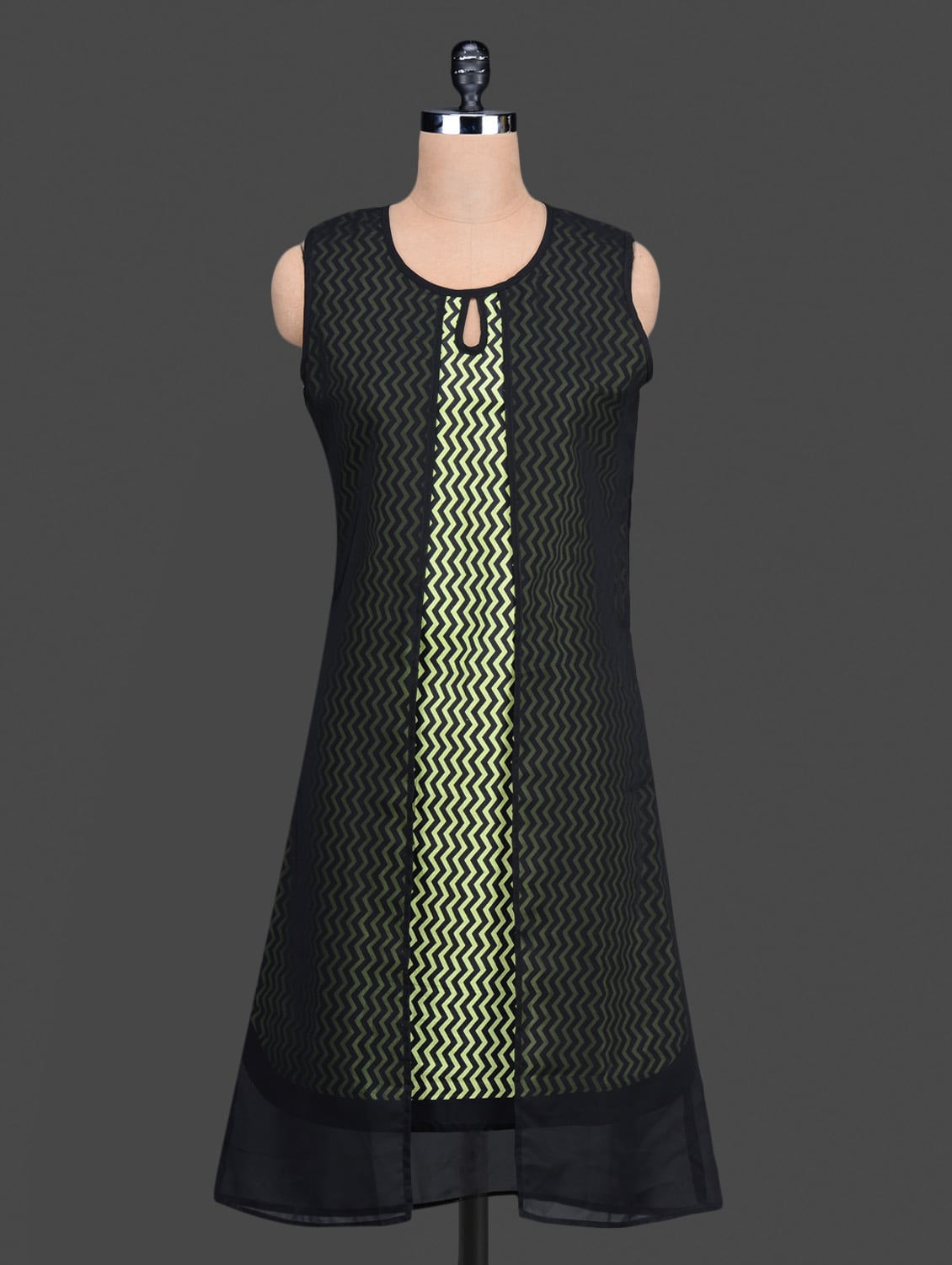 Black Chevron Printed Layered Kurta - By