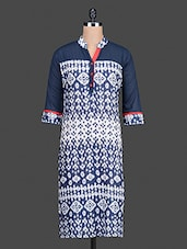 Navy Blue And White Printed Cotton Kurta - Bitterlime