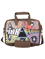 Brown Pink Floyd  Faux Leather Laptop Bag - THE BACKBENCHER