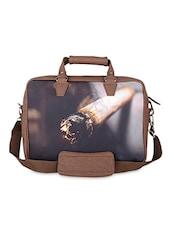 Brown Smoke Faux Leather Laptop Bag - THE BACKBENCHER
